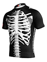 cheap -Men's Short Sleeve Cycling Jersey Black Skull Bike Top Mountain Bike MTB Road Bike Cycling Breathable Sports Clothing Apparel / Stretchy / Athletic