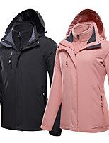 cheap -Men's Women's Hiking 3-in-1 Jackets Winter Outdoor Lightweight Windproof Breathable Quick Dry Winter Jacket Top Fleece Fishing Climbing Camping / Hiking / Caving Female black Female rose red Female