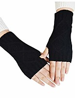 cheap -Women Winter Warm Knit Fingerless Gloves Hand Crochet Thumbhole Arm Warmers Mittens Half Finger Mitten Riding Gloves Cold Gloves
