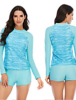 cheap -Women's Rash Guard Dive Skin Suit Elastane Swimwear Breathable Quick Dry Long Sleeve 2 Piece - Swimming Surfing Water Sports Patchwork Autumn / Fall Spring Summer