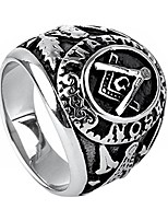 cheap -Jewellery Mens Stainless Steel Domineering Vintage Freemason Masonic Rings, Black and Silver Size Y