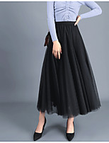 cheap -Women's Daily Vacation Elegant Streetwear Skirts Solid Colored Layered White Black Purple