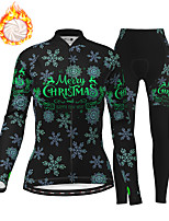 cheap -21Grams Women's Long Sleeve Cycling Jersey with Tights Winter Fleece Polyester Black Christmas Santa Claus Bike Clothing Suit Thermal Warm Fleece Lining Breathable 3D Pad Warm Sports Graphic Mountain