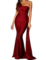 cheap -Mermaid / Trumpet Minimalist Sexy Engagement Formal Evening Dress One Shoulder Sleeveless Sweep / Brush Train Satin with Draping 2020
