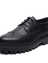 cheap -Men's Oxfords Daily Walking Shoes PU Wear Proof Black Spring Fall