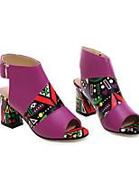 cheap -Women's Sandals Chunky Heel Peep Toe Daily Walking Shoes PU Color Block Purple Yellow Green