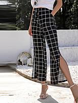 cheap -Women's Stylish Streetwear Casual Weekend Flare Pants Lattice Ankle-Length Split Black