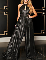 cheap -Jumpsuits Beautiful Back Sexy Wedding Guest Formal Evening Dress Halter Neck Sleeveless Floor Length Jersey with Pleats Sequin 2020