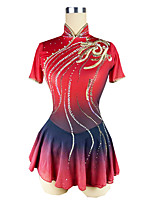 cheap -Figure Skating Dress Women's Girls' Ice Skating Dress Red Halo Dyeing Spandex High Elasticity Training Competition Skating Wear Patchwork Crystal / Rhinestone Short Sleeve Ice Skating Figure Skating
