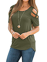 cheap -Women's Criss Cross Cotton Cold Shoulder Cutout T Shirt Casual Short Sleeve Plain Basic Tops Olive 2XL