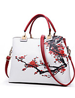 cheap -women floral pu leather capacity tote elegant shoulder bag vintage crossbody bags