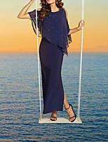 cheap -Sheath / Column Glittering Elegant Wedding Guest Formal Evening Dress Jewel Neck Short Sleeve Ankle Length Chiffon with Split 2021
