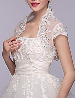 cheap -Short Sleeve Coats / Jackets / Capes Tulle Wedding / Party / Evening Shawl & Wrap / Women's Wrap With Lace
