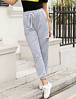 cheap -Women's Basic Casual / Sporty Comfort Going out Weekend Chinos Pants Plain Full Length Pocket Elastic Drawstring Design Light gray