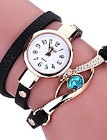 cheap -Lady Wrist Watch Female on Sale Watches for Women Round Dial Case Comfortable Leather Wristwatch Clock (Black)