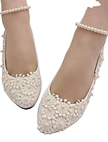 cheap -Women's Wedding Shoes Flat Heel Round Toe Wedding Walking Shoes PU Pearl Floral White