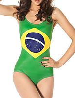 cheap -Women's New Fashion Lady Monokini Swimsuit Geometric Abstract Tummy Control Open Back Slim Bodysuit Normal Strap Swimwear Bathing Suits Green / One Piece / Party / Dot / Print