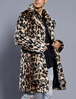cheap -fashion mens leopard warm thick fur collar coat jacket -men faux fur parka outwear cardigan