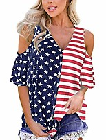 cheap -Womens Tops Patriotic Stripes Star American Cold Shoulder Button Down Blouse Top(Red, XL)