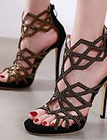 cheap -Women's Sandals Stiletto Heel Round Toe Sexy Daily Nubuck Rhinestone Solid Colored Black