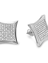 cheap -0.35 carat (ctw) 10k round diamond kite shape mens hip hop iced stud earrings 1/3 ct, white gold