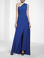 cheap -Jumpsuits Minimalist Sexy Wedding Guest Formal Evening Dress One Shoulder Sleeveless Floor Length Chiffon with Sleek 2021