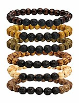 cheap -Men Women Lava Stone Wood Bracelet Rock Diffuser Natural Beads Set Wristbangle Adjustable