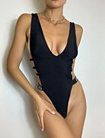 cheap -Women's New Fashion Sexy Monokini Swimsuit Solid Color Letter Ruched Push Up Cut Out Padded Normal Plunge Swimwear Bathing Suits Black / One Piece / Print