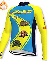 cheap -21Grams Men's Long Sleeve Cycling Jacket Winter Fleece Spandex Blue+Yellow Bike Jacket Mountain Bike MTB Road Bike Cycling Fleece Lining Warm Sports Clothing Apparel / Stretchy / Athleisure
