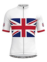 cheap -Men's Short Sleeve Cycling Jersey White National Flag Bike Top Mountain Bike MTB Road Bike Cycling Breathable Sports Clothing Apparel / Stretchy / Athletic