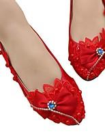 cheap -Women's Wedding Shoes Flat Heel Round Toe Sweet Wedding Walking Shoes PU Red