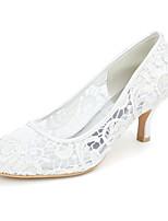 cheap -Women's Wedding Shoes Kitten Heel Round Toe Minimalism Wedding Party & Evening Lace Floral White Black Pink