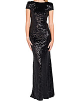 cheap -Sheath / Column Glittering Beautiful Back Wedding Guest Formal Evening Dress Boat Neck Short Sleeve Floor Length Sequined with Sequin 2020