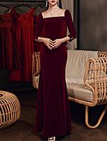 cheap -Mermaid / Trumpet Minimalist Elegant Wedding Guest Formal Evening Dress Scoop Neck Long Sleeve Floor Length Velvet with Sleek 2021
