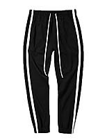 cheap -Men's Causal Track Pants Striped Color Block Outdoor Sporty Pants Hip Hop Streetwear Jogger Pants Elastic Waist Black & White UK L (Asian XXL)