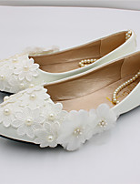 cheap -Women's Wedding Shoes Flat Heel Pointed Toe Sweet Wedding PU Lace Flower Solid Colored White