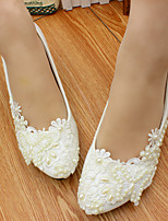cheap -Women's Wedding Shoes Cone Heel Round Toe Sweet Wedding PU Flower Solid Colored White