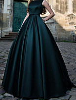 cheap -Ball Gown Minimalist Vintage Quinceanera Formal Evening Dress Jewel Neck Sleeveless Floor Length Satin with Pleats 2020