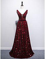 cheap -A-Line Sparkle Sexy Prom Formal Evening Dress V Neck Sleeveless Sweep / Brush Train Sequined with Pleats Sequin 2021