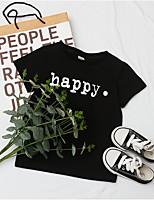 cheap -Kids Boys' T shirt Tee Letter Print Short Sleeve Active Basic Black