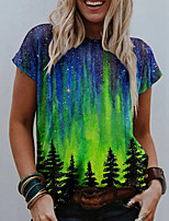cheap -Women's T shirt Graphic Scenery 3D Print Round Neck Tops Basic Basic Top Red Green