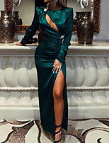 cheap -Sheath / Column Minimalist Sexy Wedding Guest Formal Evening Dress Jewel Neck Long Sleeve Floor Length Charmeuse with Ruched Split 2021