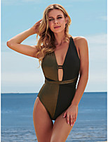 cheap -Women's New Fashion Sexy Monokini Swimsuit Color Block Hollow Out Tummy Control Wrap Normal Strap Swimwear Bathing Suits Black / One Piece / Party / Cross