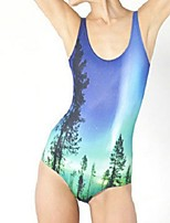 cheap -Women's New Fashion Lady Monokini Swimsuit Tropical Leaf Tummy Control Open Back Slim Bodysuit Normal Strap Swimwear Bathing Suits Blue / One Piece / Party / Print