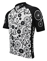 cheap -Men's Short Sleeve Cycling Jersey Black / White Bike Top Mountain Bike MTB Road Bike Cycling Breathable Sports Clothing Apparel / Stretchy / Athletic
