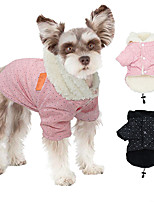 cheap -Dog Cat Coat Jacket Solid Colored Dot Basic Classic Casual / Daily Winter Dog Clothes Puppy Clothes Dog Outfits Warm Black Pink Costume for Girl and Boy Dog Cotton S M L XL