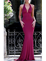 cheap -Mermaid / Trumpet Beautiful Back Sexy Wedding Guest Formal Evening Dress Halter Neck Sleeveless Sweep / Brush Train Spandex with Bow(s) 2020