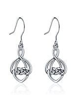 cheap -Silver Cross-shaped Celtic Infinity Eternity Knot Drop Dangle Hook Earrings for Women