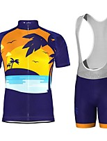 cheap -21Grams Men's Short Sleeve Cycling Jersey with Bib Shorts Blue Bike Breathable Sports Graphic Mountain Bike MTB Road Bike Cycling Clothing Apparel / Stretchy / Athleisure
