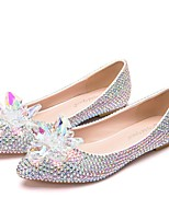 cheap -Women's Wedding Shoes Flat Heel Pointed Toe Vintage Sexy Minimalism Wedding Party & Evening PU Rhinestone Crystal Sparkling Glitter Solid Colored Silver Rainbow